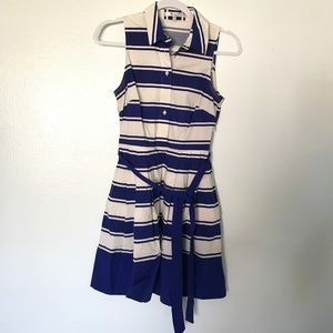 Milly Blue & White Nautical Striped Shirt Dress
